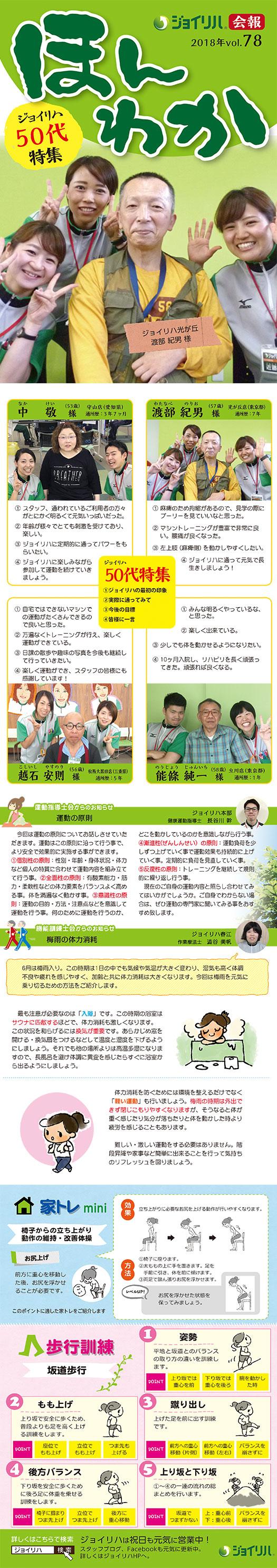 会報「ほんわか」vol.78 「ジョイリハ50代特集」